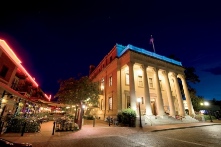 The Hippodrome Theatre lights up at night for a show in downtown Gainesville, Florida